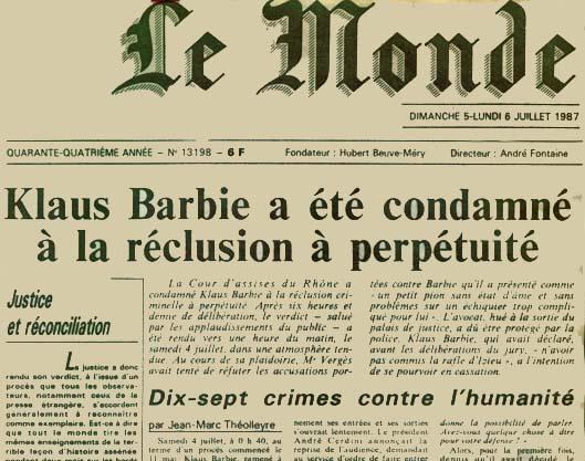 Klaus Barbie verdict jugement